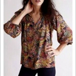 Tucker Classic Floral Smocked Collar Blouse